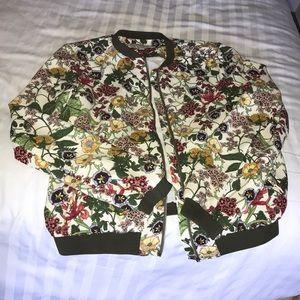 Zara floral bomber TRF Outerwear Jacket.